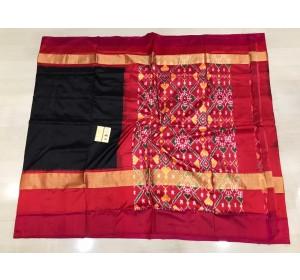 Pochampally ikkat Silk black and pink color combination saree.(pallu and blouse same design)