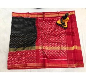 Pochampally ikat pure Silk black and pink color combination saree