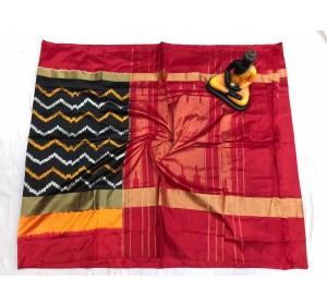 Pochampally ikkat Silk black and pink color combination saree