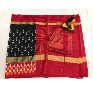 Pochampally ikkat pure Silk black and reddish pink color combination saree