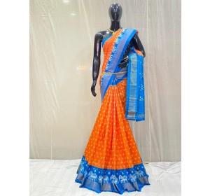 Pochampally ikat pure silk orange and blue color combination saree