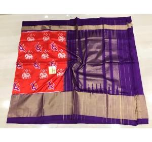Pochampally ikkat silk orange and purple color combination saree