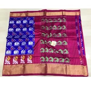 Pochampally ikkat silk royal blue and pink color combination saree