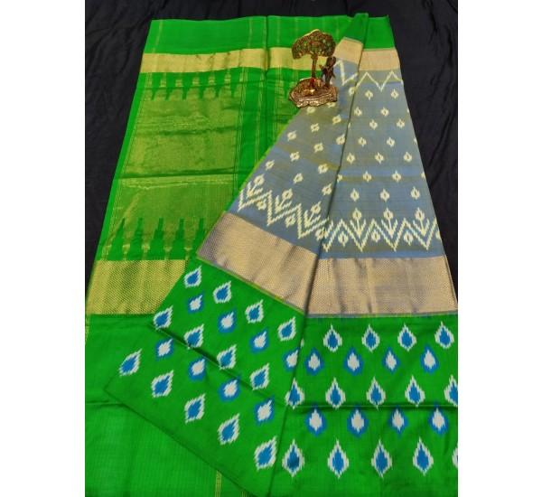 Pochampally ikkat pure silk yellowish royal and green color combination saree