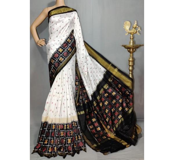 Pochampally ikat pure silk white and black color combination saree